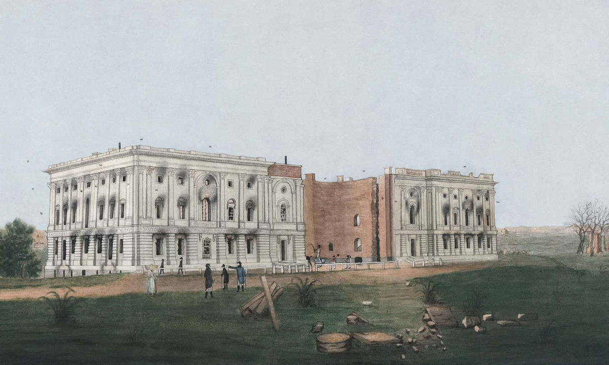 Tranh vẽ tòa nhà quốc hội Mỹ sau khi bị quân Anh đốt phá. Ảnh: Wikipedia.