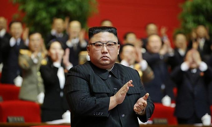 Lãnh đạo Triều Tiên Kim Jong-un tại đại hội thứ 8 của đảng Lao động Triều Tiên. Ảnh: Reuters