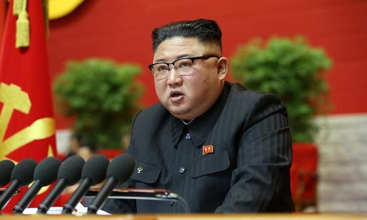 Lãnh đạo Triều Tiên Kim Jong-un tại đại hội thứ 8 của đảng Lao động Triều Tiên. Ảnh: Reuters.