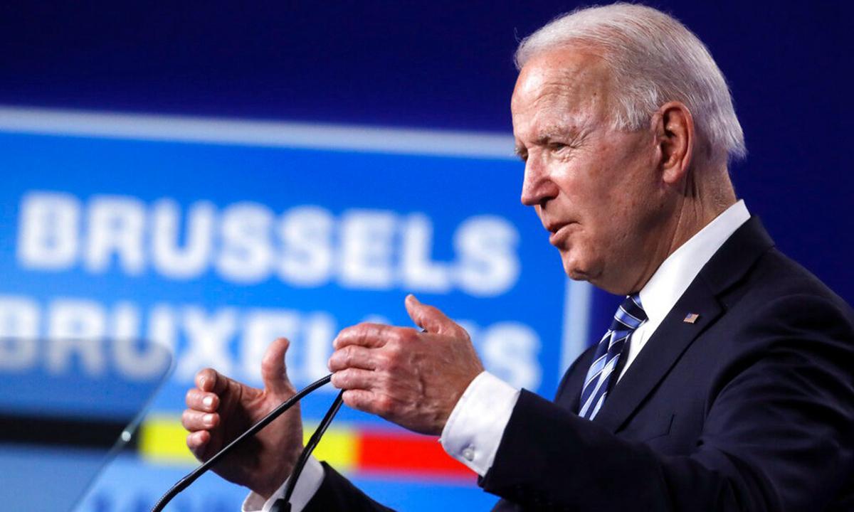 Tổng thống Mỹ Joe Biden phát biểu tại hội nghị thượng đỉnh NATO ở Brussels hôm 14/6. Ảnh: AP.