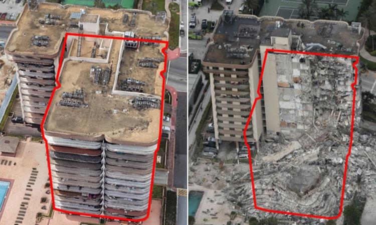 Hình ảnh trước (trái) và sau khi một phần của chung cư 12 tầng Champlain Towers tại bang Florida, Mỹ bị sập hôm 24/6. Ảnh: AP.