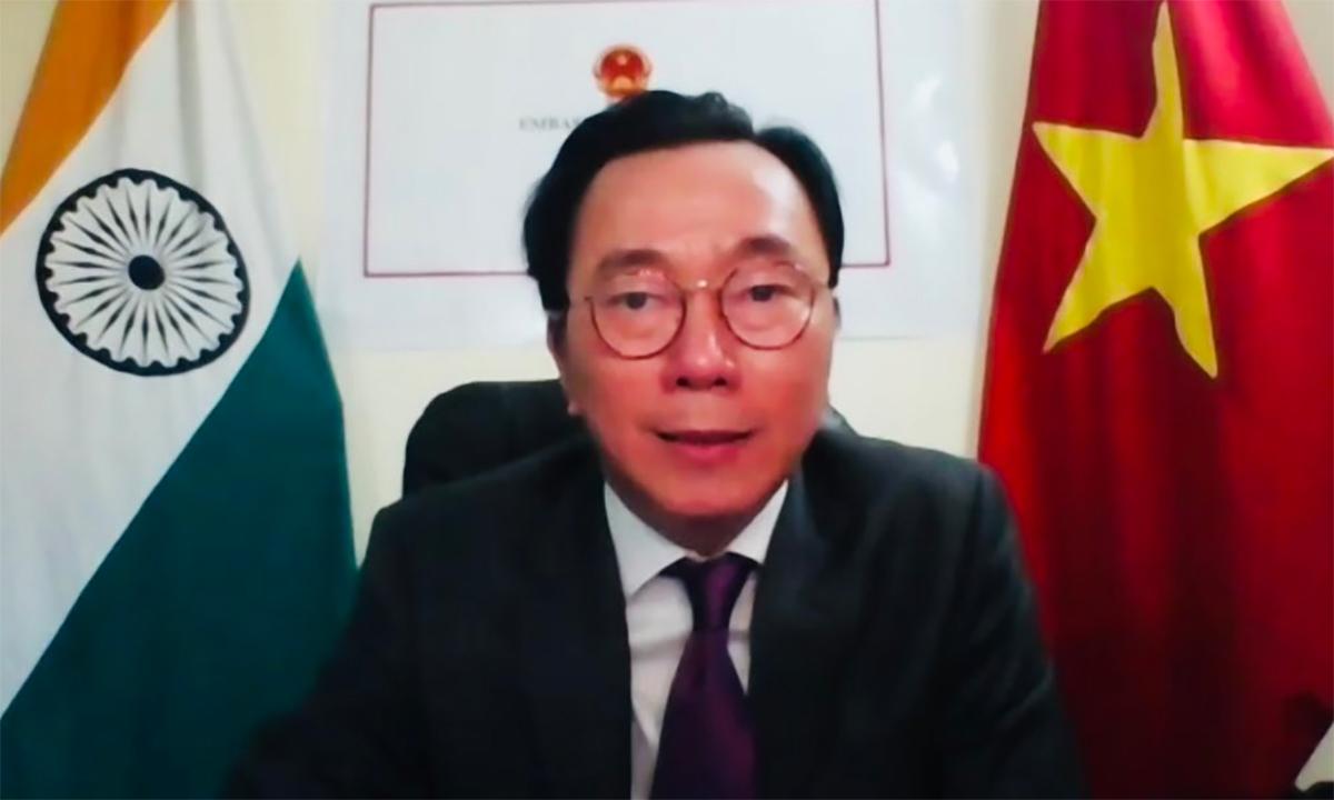 Đại sứ Việt Nam tại Ấn Độ Phạm Sanh Châu phát biểu trong lễ ký biên bản ghi nhớ ngày 1/7. Ảnh: ĐSQ Việt Nam tại Ấn Độ.
